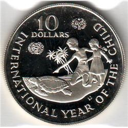 Cayman Islands: 10 dollars 1982, International Year of the Child, KM # 72. Proof coin containing 0.8