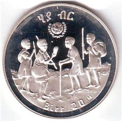 Ethiopia: 20 birr EE1972 (1979), International Year of the Child, KM # 54. Proof coin containing 0.6