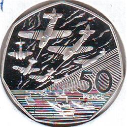 Great Britain: 50 pence 1994, 50th Anniversary of Normandy Invasion, KM # 966a. Proof coin containin