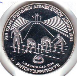 Greece: 500 drachmes 1982, Pan-Europeen Games, olympic racers at starting blocks, KM #139. Proof coi