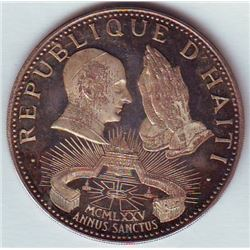 Haiti: 50 gourdes 1975, Pope Paul and praying hands, arms, KM # 123. Proof coin containing 0.4949 oz