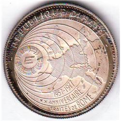 Haiti: 50 gourdes 1977, map of globe design, arms, KM # 130.1. Proof coin containing 0.6294 oz ASW.