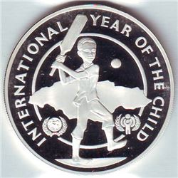 Jamaica: 10 dollars 1979, International Year of the Child, KM # 80. Proof coin containing 0.6634 oz