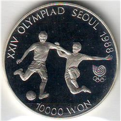 Korea-South: 10000 won 1988, Olympics, Soccer, KM # 77. Proof coin containing 0.9934 oz ASW.