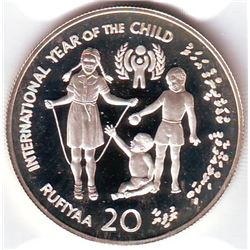 Maldives: 20 Rufiyaa AH1399 (1979), International Year of the Child, KM # 61. Proof coin containing