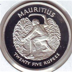 Mauritius: 25 rupees 1977, Queen's Silver Jubilee, KM # 43. Proof coin containing 0.8356 oz ASW.