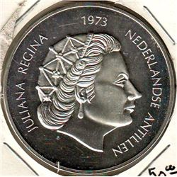 Netherlands Antilles: 25 gulden 1973, 25th Anniversary of Reign, Royal carriage on bridge, KM # 14.