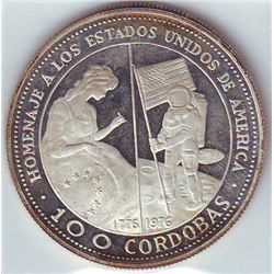 Nicaragua: 100 cordobas 1975, Betsy Ross sewing flag and astronaut placing flag on moon, KM # 35. Pr
