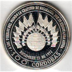 Nicaragua: 100 cordobas 1975, Earthquake Relief Issue, KM # 36. Proof coin containing 0.7428 oz ASW.