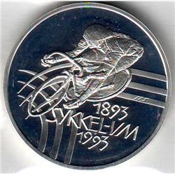 Norway: 100 kroner 1993, World Cycling Championships, 1 cyclist, KM # 443. Proof coin containing 1.0