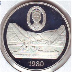 Saint-Helena: 1 crown 1980, Queen Mother's 80th Birthday, KM # 8a. Proof coin containing 0.8356 oz A