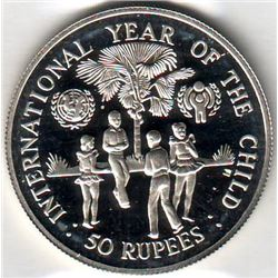 Seychelles: 50 rupees 1980, International Year of the Child, KM # 42. Proof coin containing 0.5744 o