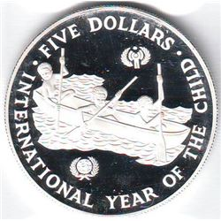 Solomon Islands: 5 dollars 1983, International Year of the Child, KM # 16. Proof coin containing 0.8