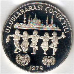 Turkey: 500 lira 1979 (1981), International Year of the Child, KM # 931. Proof coin containing 0.689