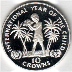 Turks & Caicos Islands: 10 crowns 1982, international Year of the Child, KM # 55. Proof coin contain