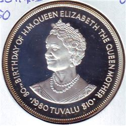 Tuvalu: 10 dollars 1980, Queen Mother's 80th Birthday, KM # 11a. Proof coin containing 1.0342 oz ASW