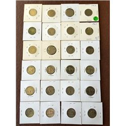 USA: 5 cents coin lot: Barber-Buffalo and silver Jefferson coin. Lot of 24 coins, 4 are silver.
