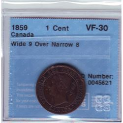 1 cent 1859 CCCS VF-30; Wide 9 Over Narrow 8.