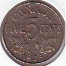 5 cents 1925 F-15, Key Date.