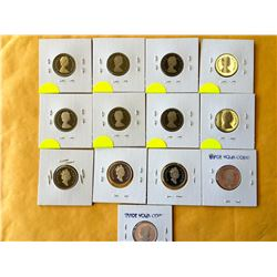 5 cents lot of 13 Canada proof 5 cents from nickel to silver. 1981-83-84-85-86-87-88-89-94-2000-2003