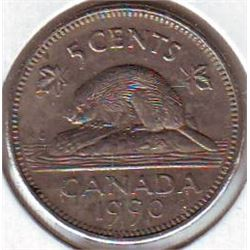5 cents 1990 EF-40 Bare Belly.