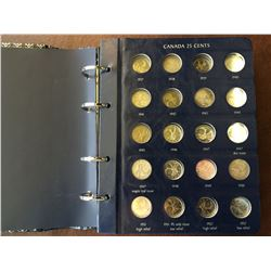 Canada 25 cents vista album,158 coins total: starting 1937 to 2009, included 15 silver coins + 1991