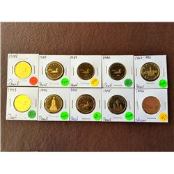 25 cents Proof: 1987-1988-1989-1990-1992-1993-1994-1995-1995. 1996 specimen loonie. Lot of 10 coins.