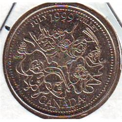 25 cents 1999 July counterstamped.
