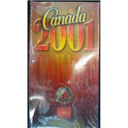 25 cents 2001 Oh Canada Coloured in sleeve.