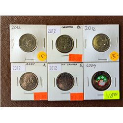 25 cents Uncirculated coins: 2009 Santa, 2012 Ice Cream Balloons, Christmass Tree, Wedding Rings and