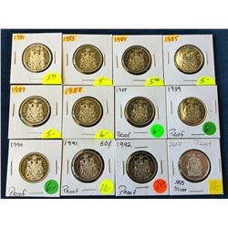 50 cents lot of 12 Canada proof 50 cents from nickel to silver. 1981-83-84-85-87-88 x 2-89-90-91-92-