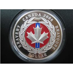 1 dollar  2006 proof silver coin: Bravour enemal-effect