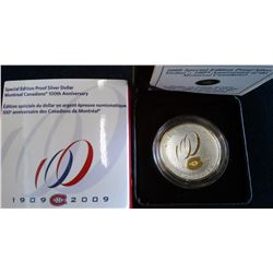 1 dollar 2009 Montreal Canadians Centennial in case with sleeve and COA.