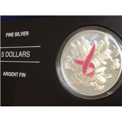 5 dollars 2006 proof silver dollar: Breast cancer awareness.