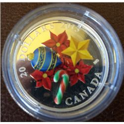 20 dollars 2013 fine silver coin- Holiday candy cane-Murano popular serie