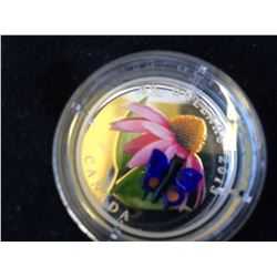 20 dollars 2013 silver coin-Purple coneflower and eastern tailed blue, Murano popular serie
