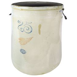 "Stoneware crock, Red Wing 25 gal w/6"" wing, VG/Exc cond w/minor base roughness, 25""H x 20""Dia."