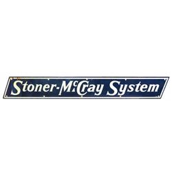 Advertising sign, Stoner-McCray System, porcelain, minor upper left corner loss, o/wise Exc cond, 8""