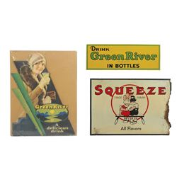 "Soda fountain signs (3), Squeeze All Flavors, Good cond w/heavy loss rt side, 20""H x 28.5""W; Drink G"