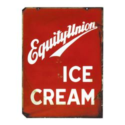 "Soda fountain sign, Equity-Union Ice Cream, 2-sided porcelain, 1 side Good/VG other Poor/Fair, 28""H"