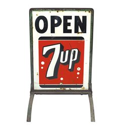 "Soda fountain curb sign, 7Up, 2-sided metal, Good+ cond, 45""H x 21""W."
