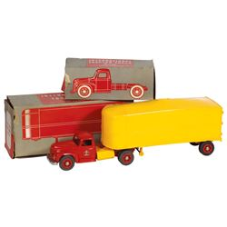 Toy truck, International Tractor Truck & Truck Van, mfgd by Product Miniature Co.-Milwaukee, WI, pla