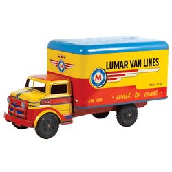 "Toy truck, Marx Lumar Van Lines, pressed steel, straight body, Exc cond, 17""L."