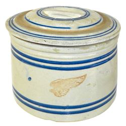 "Stoneware pantry jar w/bar lid, Red Wing 5 lb w/wing & blue bands, Exc cond, 6""H x 7.5""Dia."
