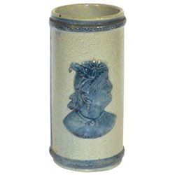 Stoneware vase, Old Sleepy Eye, Indian & cattails, Flemish blue & gray, VG+ cond w/small area of gla