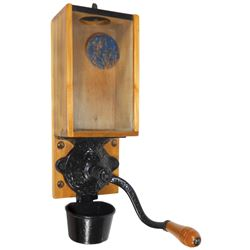 "Coffee grinder, Arcade X-ray w/decal on glass, all orig w/metal catch cup, Exc cond, 15.5""H."