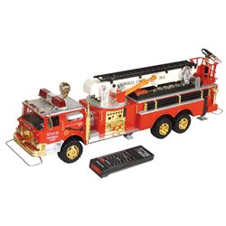 Toy fire truck, remote controlled N.Y.F.D. Snorkel Unit No. 1, mfgd by New Bright Ind. Co., Ltd, (ma