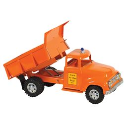 "Toy dump truck, Tonka Toys State Hi-Way Dept 975, pressed steel, new-old-stock cond, 13""L."