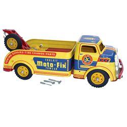 "Toy truck, Wyandotte Moto-Fix Towcar, metal, missing 1 tire on winch, o/wise Exc cond, 14.5""L."