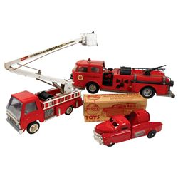 Toy Fire Engines (3), Buddy L '50s Fire Emergency, missing ladders, o/wise Exc cond, box flaps torn,